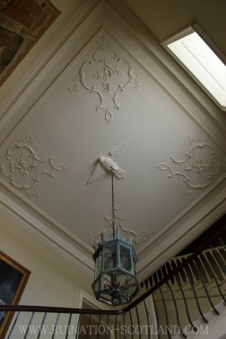 The stair hall ceiling