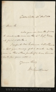 Gelston - letter written by William Maitland at the Castle in 1838